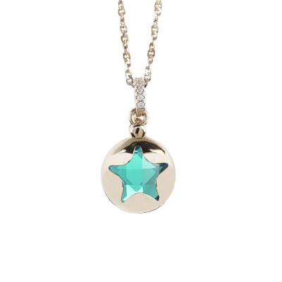 Necklace color gold with retractable star and crystal clear green
