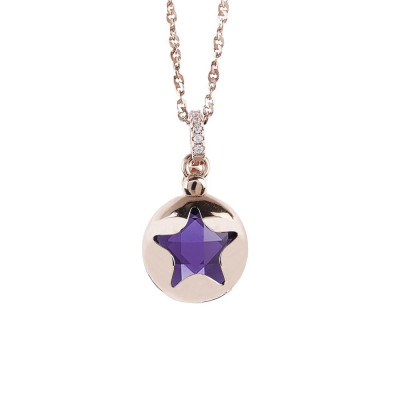 Necklace color pink gold with retractable star and crystal Tanzanite