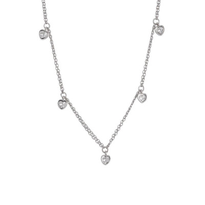 Necklace double wire with zircons to heart