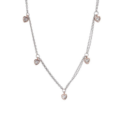 Necklace double thread bicolor with zircons to heart