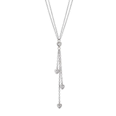 Necklace double wire pendant with a sprig of zircons in the heart