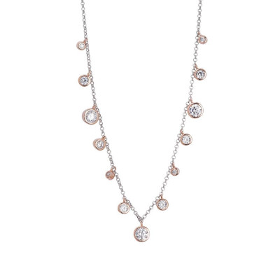 Necklace with pendant degradèplaccati pink gold of zircons diamond cut