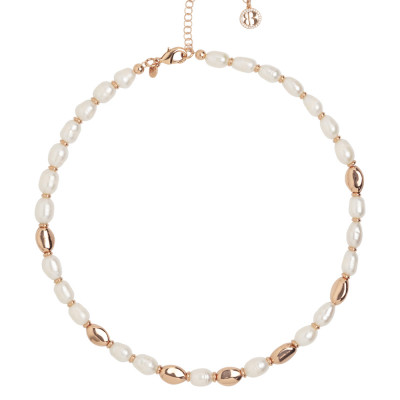 Rose gold plated necklace with natural pearls and silver interlayers