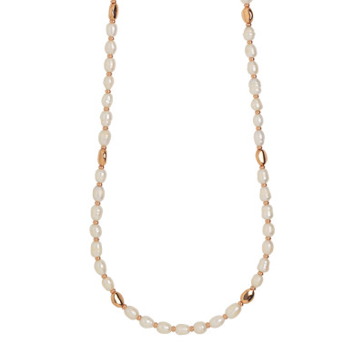 Long rose gold plated necklace with natural baroque pearls and silver interlayers