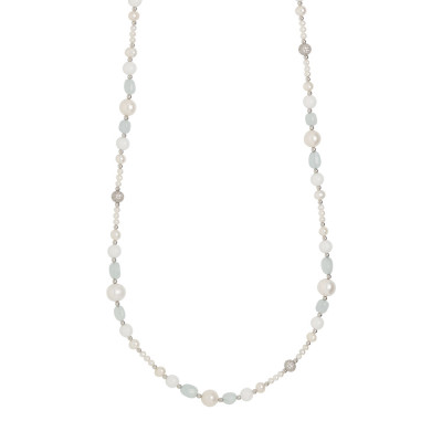 Long necklace with natural pearls, aquamarine and white agate
