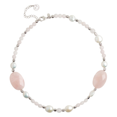 Necklace with natural pearls and faceted rose quartz