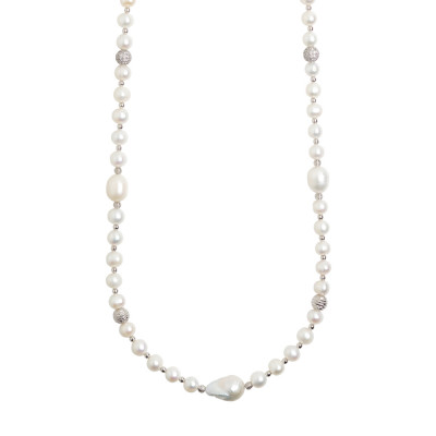 Long necklace with natural pearls and spheres with a diamond effect