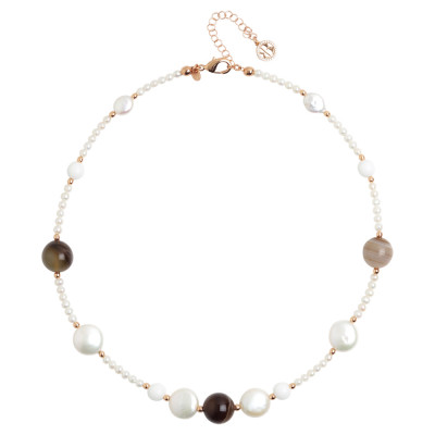 Short necklace with natural pearls, mix brown agate and white agate