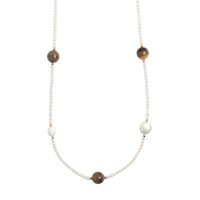 Long necklace with natural pearls, mix brown agate and white agate