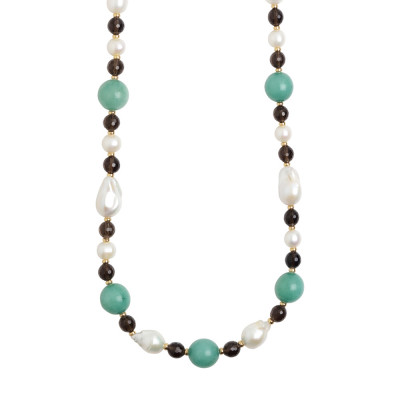 Long necklace with natural pearls, smoky quartz and amazonite