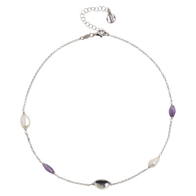Rhodium-plated necklace with baroque pearls and amethyst