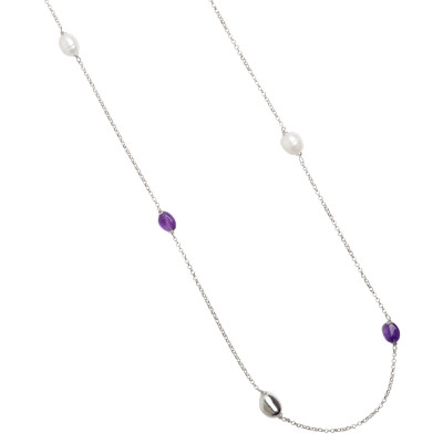 Long rhodium-plated necklace with baroque pearls and amethyst