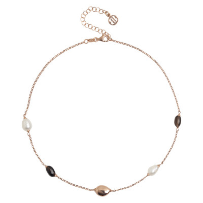 Rose gold plated necklace with fum quartz and baroque pearls