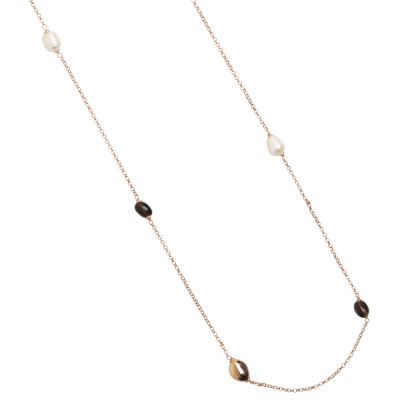 Long rose gold plated necklace with fum quartz and baroque pearls