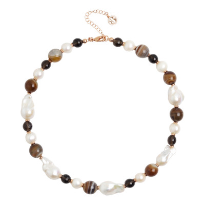 Necklace with natural pearls, mix brown agate and smoky quartz