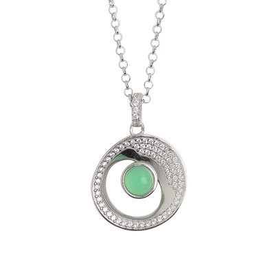 Necklace with moon eclipse and green crystal pendant