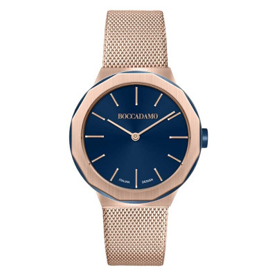 Two rose gold-plated hands with blue dial
