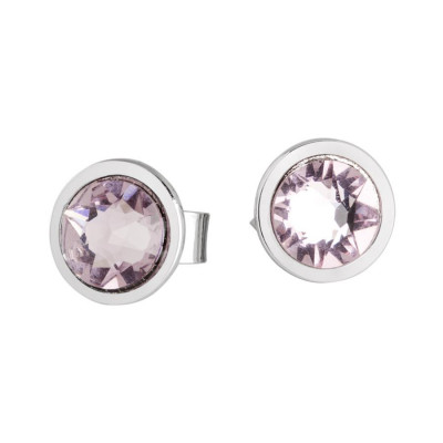 Earrings in the lobe with Swarovski crystal light ametist