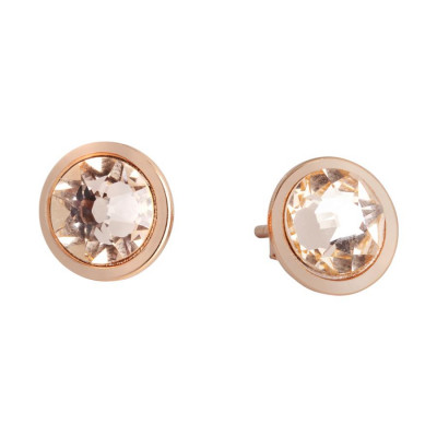Earrings in the lobe with Swarovski crystal light peach