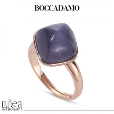 Rose gold plated ring with tanzanite colored crystal