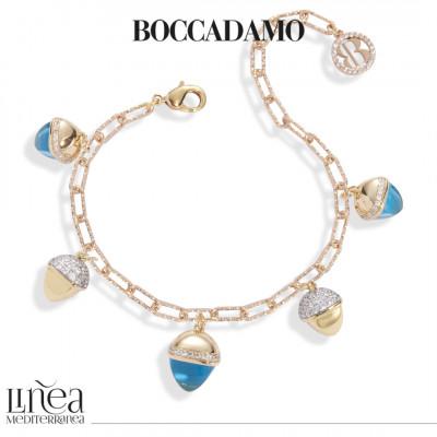Bracelet with aquamarine crystals and pyramidal pendants