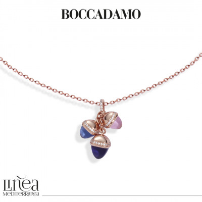 Rose gold plated necklace with pendant of pyramidal crystals and zircons