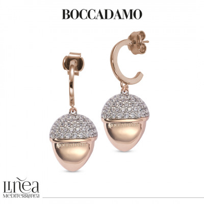 Rose gold plated crescent earrings with large pyramid pendant and zircons