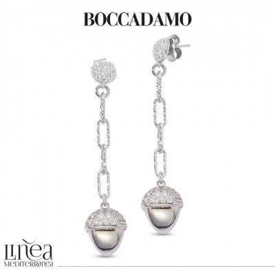 Pendant earrings with pyramidal element and zircons