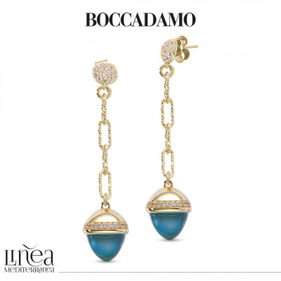 Pendant earrings with aquamarine-colored pyramidal crystal and zircons