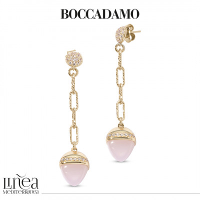 Pendant earrings with rose quartz colored pyramidal crystal and zircons