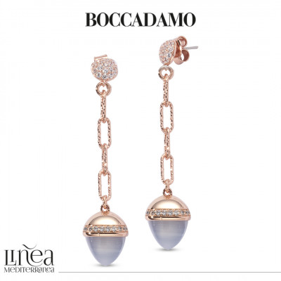 Pendant earrings with gray agate-colored pyramidal crystal and zircons