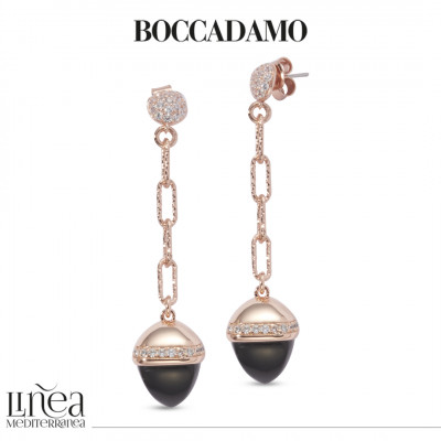 Pendant earrings with onyx-colored pyramidal crystal and zircons