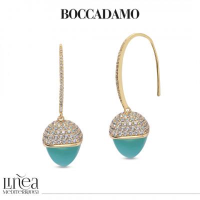 Zircon hook earrings with amazonite-colored pyramidal crystal