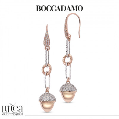 Two-tone earrings with pyramidal pendant and zircons