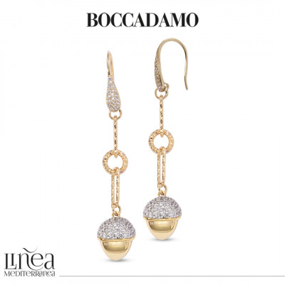 Earrings with yellow gold plated pyramid pendant and zircons