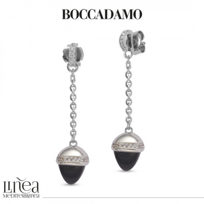 Earrings with onyx-colored pendant crystal and zircons