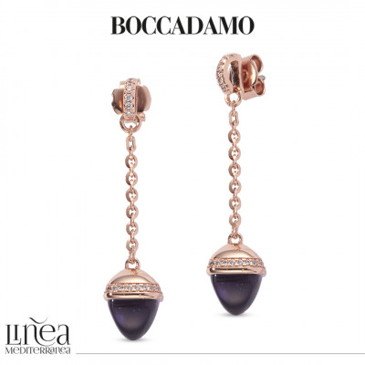 Earrings with amethyst-colored pendant crystal and zircons