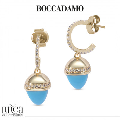 Crescent earrings of cubic zirconia and turquoise pyramidal crystal