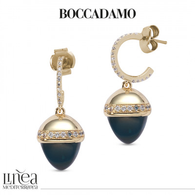 Crescent earrings with cubic zirconia and pyramidal crystal in blue emerald color
