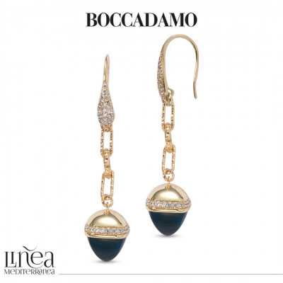 Hook earrings of zircons with pyramidal pendant in blue emerald