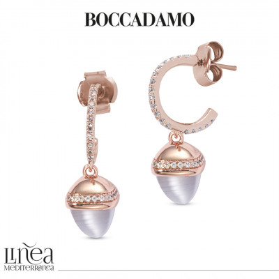 Zirconia crescent earrings with gray agate-colored pyramidal crystal and zircons