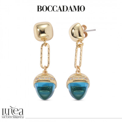 Knitted earrings with a diamond effect and seawater-colored pyramidal crystal
