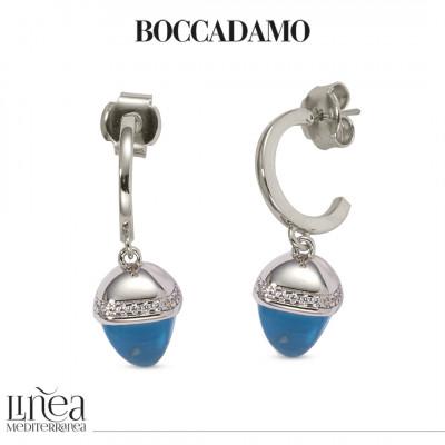 Earrings with pyramidal crystal pendant aquamarine color