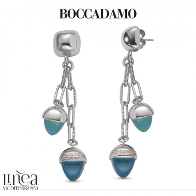 Pendant earrings with amazonite and aquamarine colored pyramidal crystals