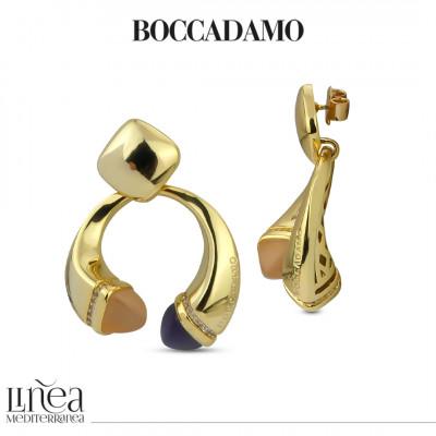 Pendant earrings with carnelian, tanzanite and zircon crystals