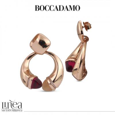 Pendant earrings with carnelian, ruby and zircon crystals