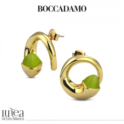Lobe earrings with olivine crystals