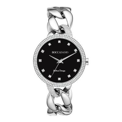 Wristwatch woman with black dial and ring double wire Swarovski