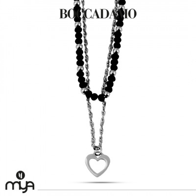 Necklace with black crystals and heart