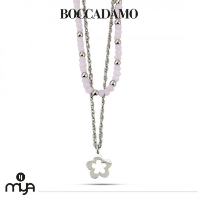 Necklace with pink crystals and flower